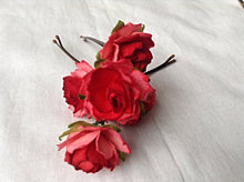 hair accessories. hair pins. bobby pins. flower hair pin. wedding hair pins. bridesmaids. flower girl. Red hair pins.
