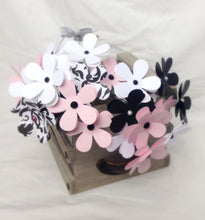 Kate Spate Inspired. Paper daisies. paper flowers. wedding Fowers. Baby shower Decor. Nursery Decor. Pink and black flowers. Paris theme.