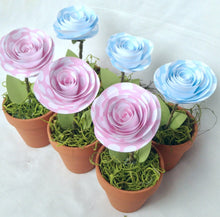 Set of 3 shower favors. Party favors. Mini flower pot. Baby girl. Baby boy. Terra cotta pot. Paper flowers. YOUR COLORS