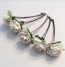 hair accessories. hair pins. bobby pins. flower hair pin. wedding hair pins. bridesmaids. flower girl. White flower hair pins.