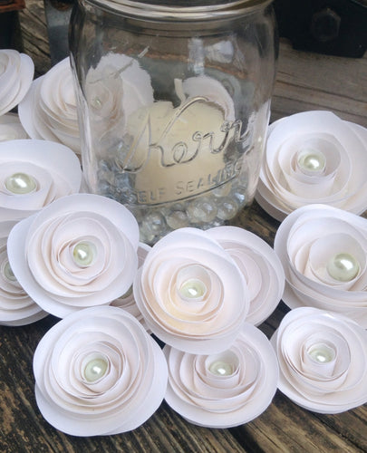 Paper Flowers. White roses. Set of 22 paper roses. Wedding flowers. Custom colors. Wedding centerpiece. Rustic centerpiece.