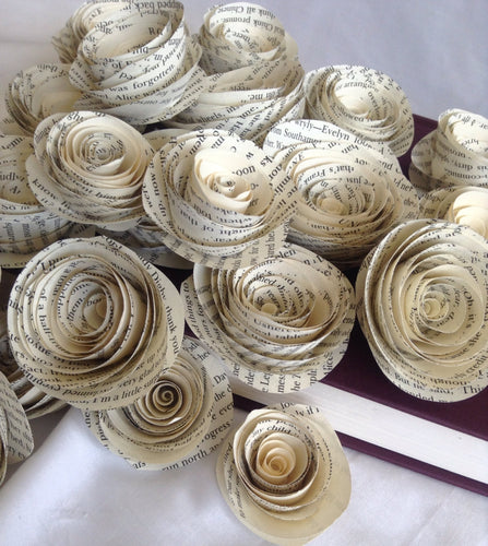 Book page roses. Set of 30 paper roses. Wedding flowers. Centerpieces. Paper flowers. Paper roses.