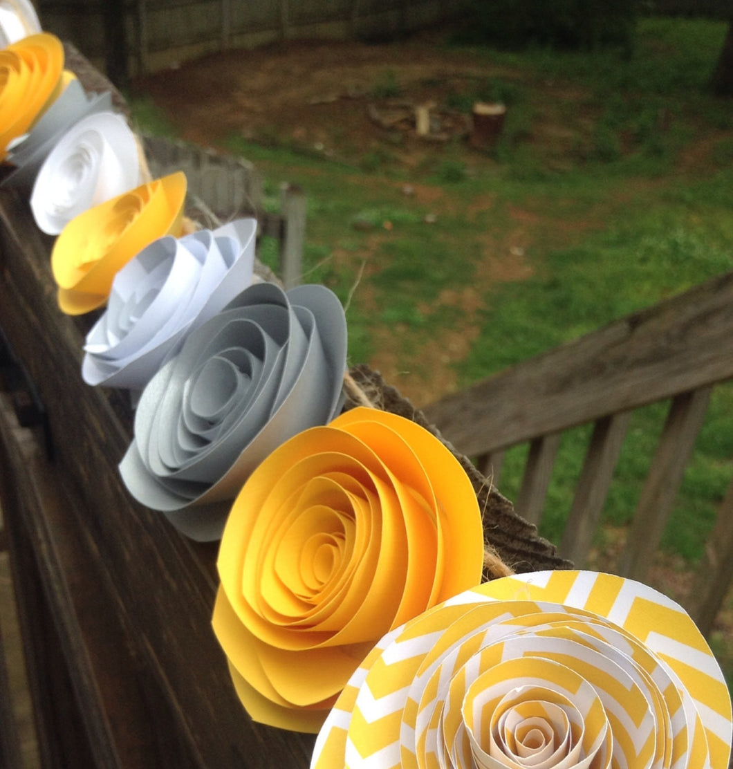 Paper flower garland. paper rose garland. Yellow and gray garland. rose garland. wedding garland. Party garland. Pink and gray wedding