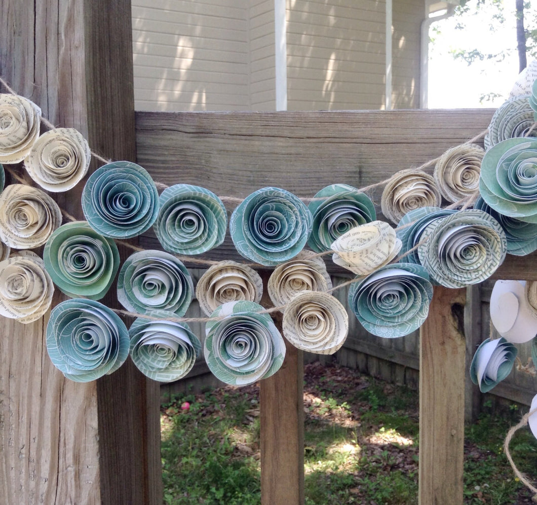 paper flower garland teal garland wedding garland  book page flowers  u2013 kc2designs by kerry