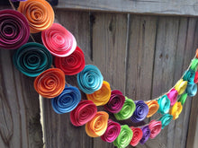 Paper Flower Garland. Colorful paper flower garland, neon paper flowers. Holiday garland. Christmas tree garland.