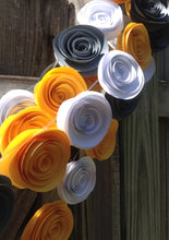Paper flower garland. paper rose garland. Yellow and gray wedding. 22 feet of garland. 2015 wedding trends. Christmas garland.