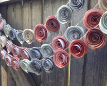 Paper Flower Garland. Coral and Gray Garland. flower decor. flower garland. weddng decor. birthday party decor. garland. babies room.