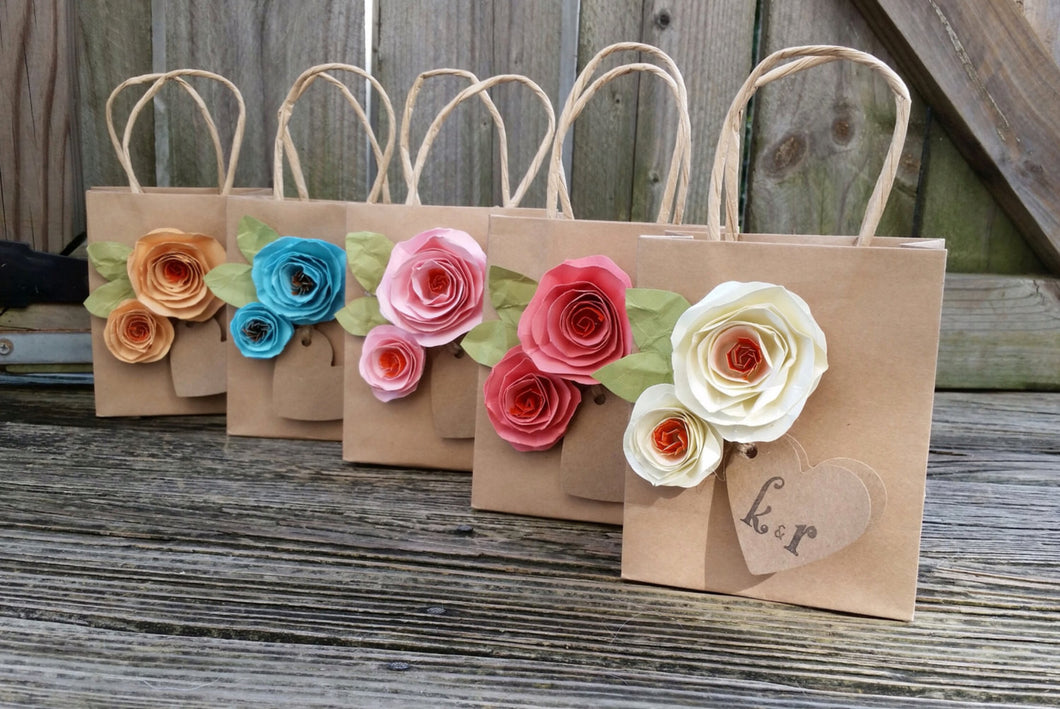 Kraft gift bags. Shabby chic. Paper flowers. Gift bags. YOUR COLORS.