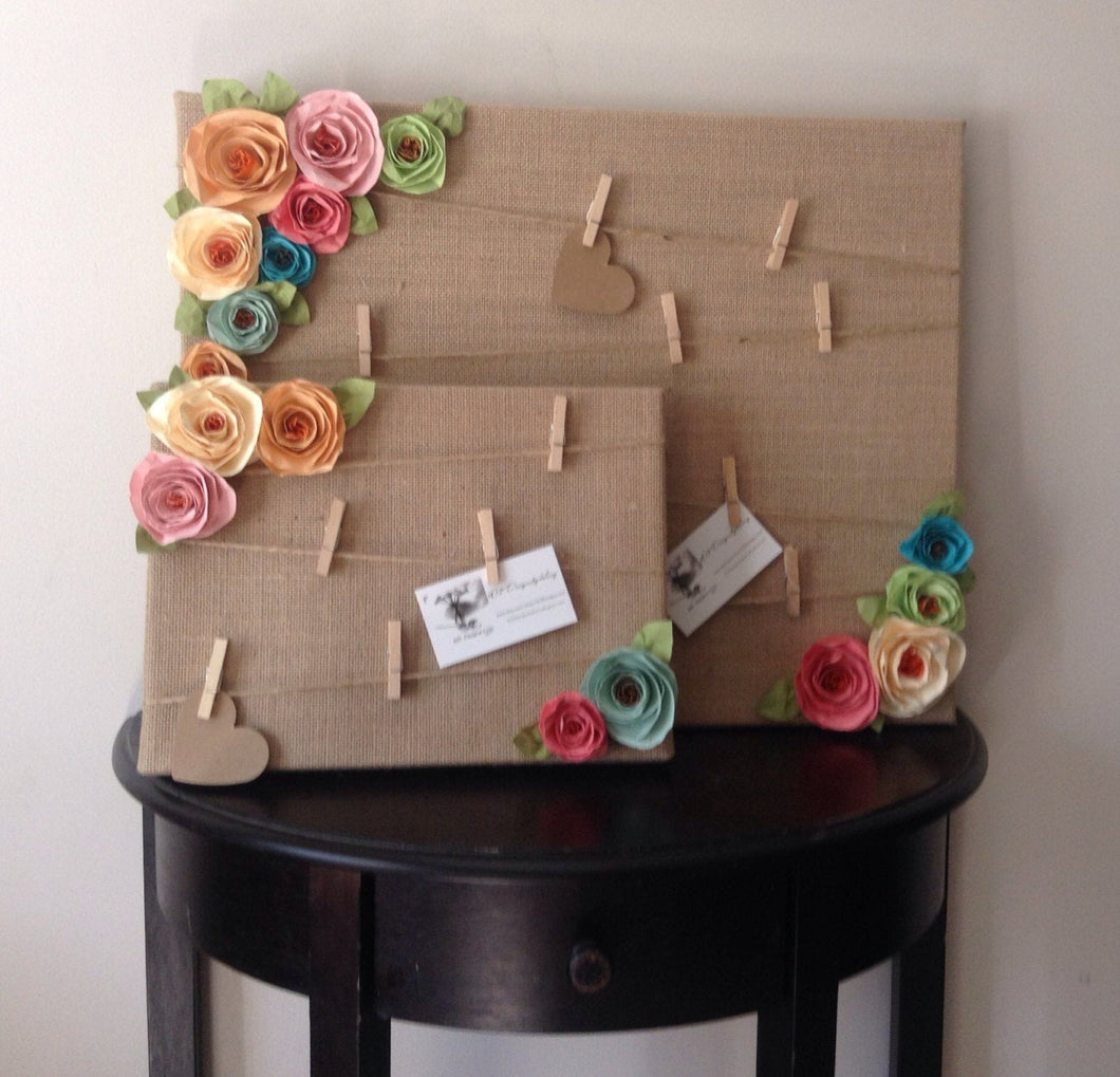 Message board. Note board. Burlap shabby chic flowers. Prayer board