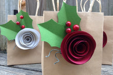 Gift Bags. Holiday wrap. Gift bag. Kraft gift bags. Shabby chic. Paper flowers. Gift bags. YOUR COLORS. Holiday gift bag. Christmas wrap