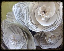 Book page roses. Large paper roses. Wedding centerpiece. Vintage flowers. Wedding bouquet. Vintage wedding. Literary wedding.