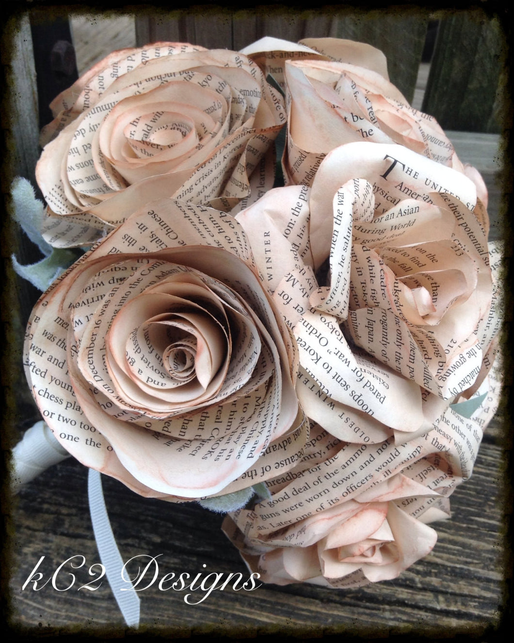 Book Page Roses Wedding Bouquet Bridal Bouquet Wedding