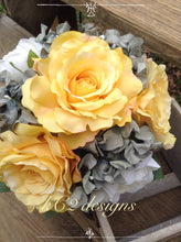 fall wedding. Yellow wedding bouquet. Silk flower wedding bouquet. Silk bouquet. Yellow and gray wedding. Yellow and grey.