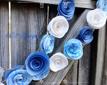 Paper flower garland. Blue garland. Baby blue wedding. Blue and white. Baby boy. Paper flower decor. Rustic wedding. Wedding decorations.