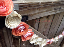 Paper flower garland. Book page garland. Coral wedding. Orange wedding. Summer wedding. Paper flower decor. Rustic wedding. Wedding decor.
