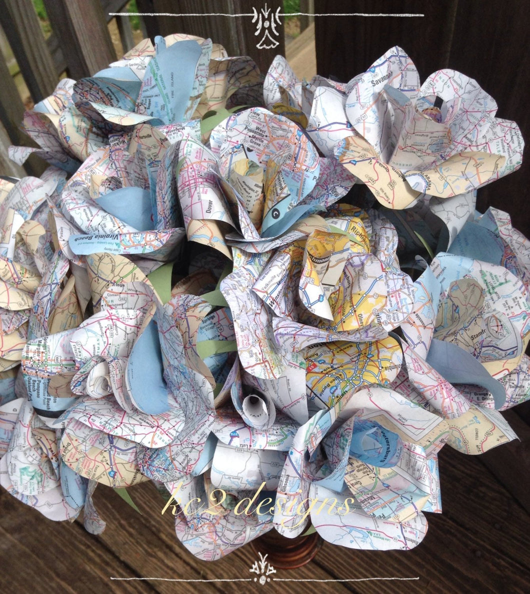 Map paper roses  Set of paper roses  Wedding centerpiece