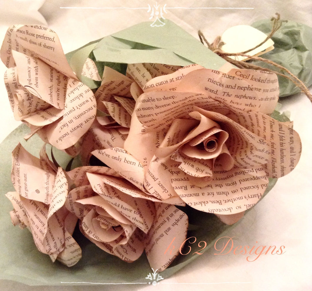 Tea Paper Flowers Stained Paper Roses Set Of Paper Roses Wedding