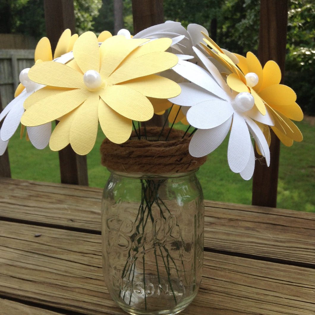 Paper Flowers Paper Daisies Wedding Centerpieces Fall Centerpiece