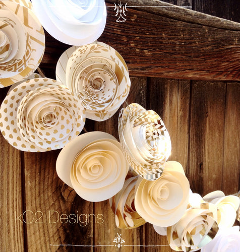 Paper Flower Garland gold garland Wedding Garland. Gold garland. Ivory garland. White garland.  Mantle decor. silver garland. Gold. Silver