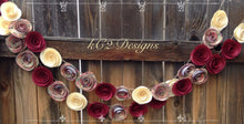 Paper Flower Garland red garland Wedding Garland. Red and Ivory.  Fall wedding. Fall decor.