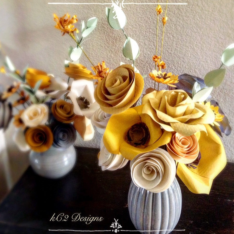 Paper flowers spring Centerpiece. Rustic wedding. Gift idea. fall flowers. hospital gift. YOUR COLORS. wedding decor. Yellow.