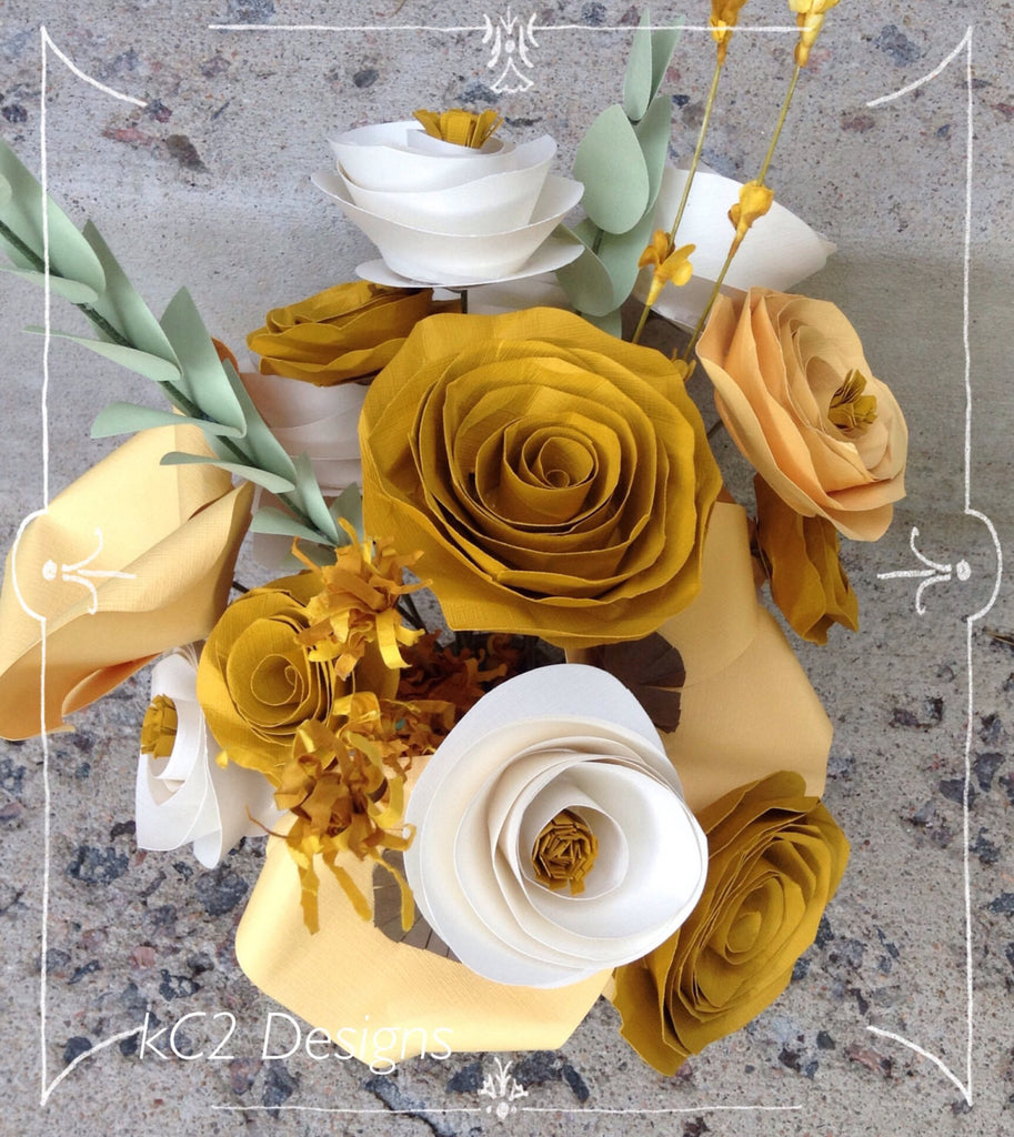 Fall Paper Flowers Fall Centerpiece. Rustic Wedding. Gift
