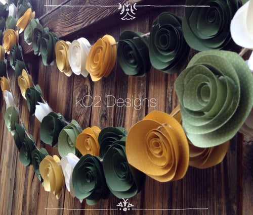 Paper Flower Garland green garland Wedding Garland.