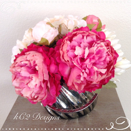 Faux silk flower arrangement glass vase faux water blush peony silk flower home decor gifts dwedding centerpiece vintage blush glass vase