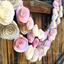Paper Flower Garland blush garland Wedding Garland. Book page flowers Ivory garland