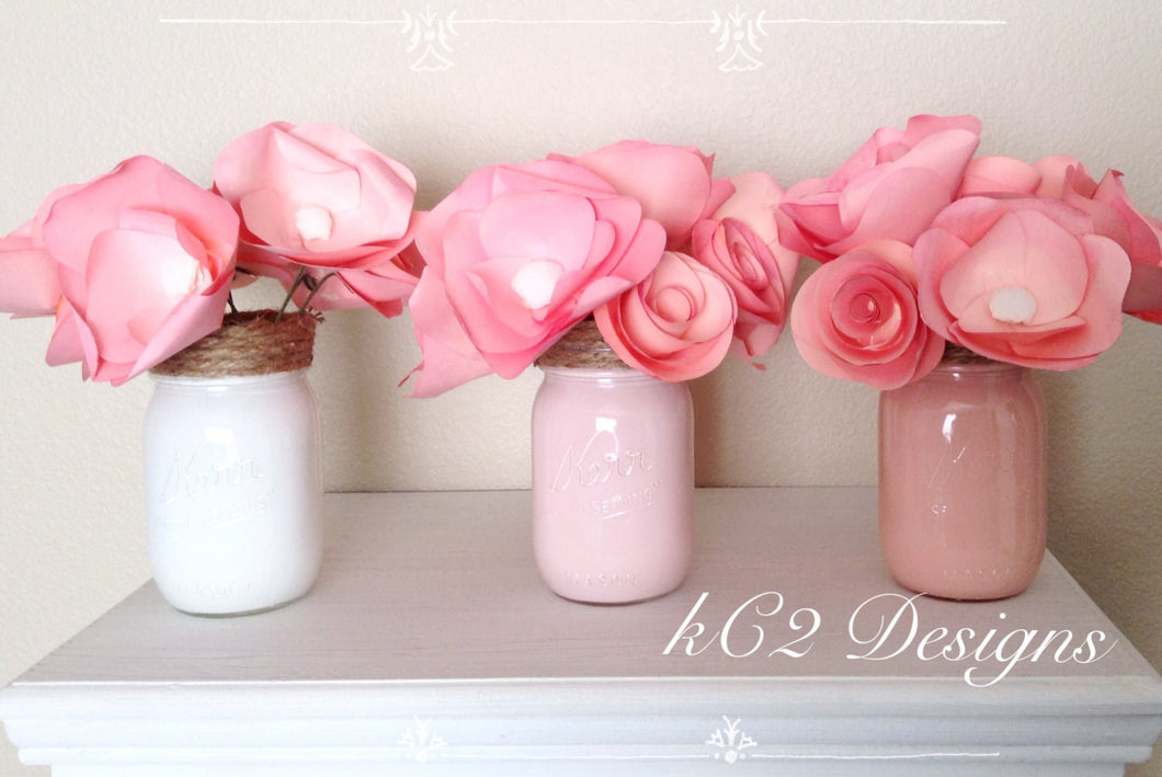 Paper flowers centerpieces table numbers summer wedding Mothers Day blush roses baby girl rustic wedding ceramic vase paper rose rustic