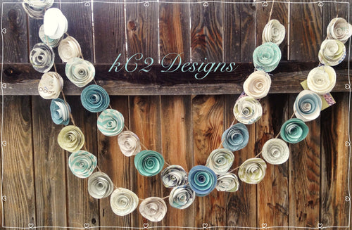 Paper Flower Garland teal garland Wedding Garland. Paper flower garland. Beach theme. Beach wedding.