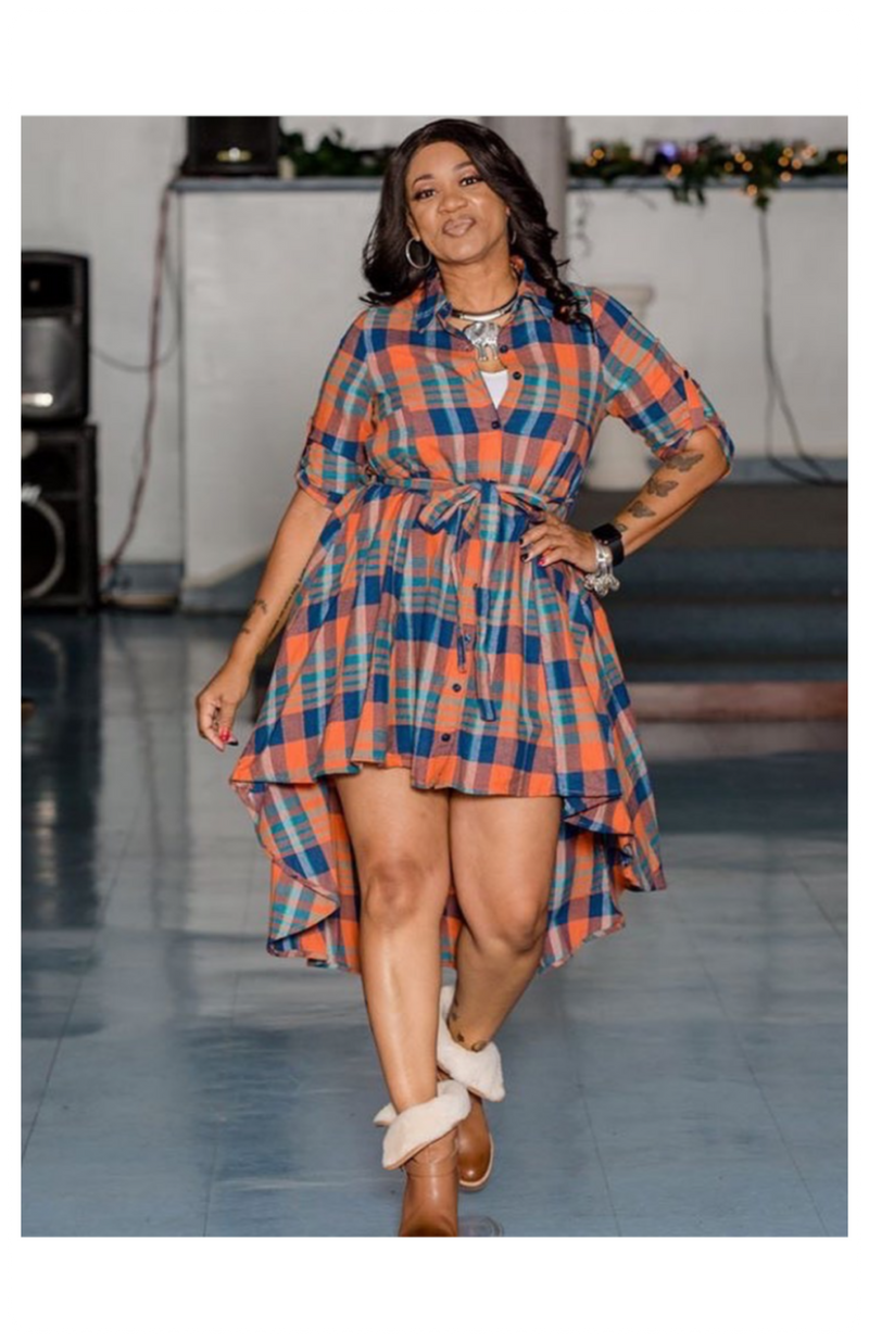 Plaid High Low Dress