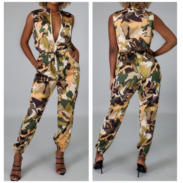 Sleeveless Camo Jumpsuit - Oh Just Us Girls