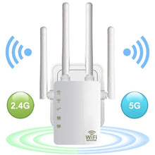 Load image into Gallery viewer, 300/1200Mbps Dual Band AC Wireless 2.4G / 5G Wifi Repeater 4 High Antennas Bridge Router Signal Amplifier Wired Access Point