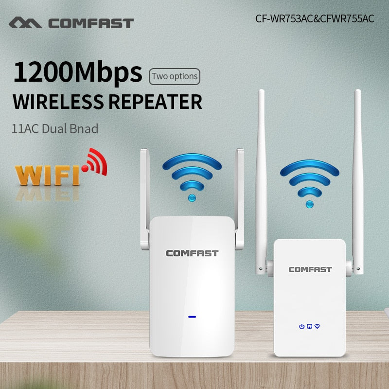 1200Mbps Comfast Dual Band 2.4+5 ghz Wireless Wifi Router High Power Wifi Repeater Wifi Extender Long Range Wlan Wi-fi amplifier