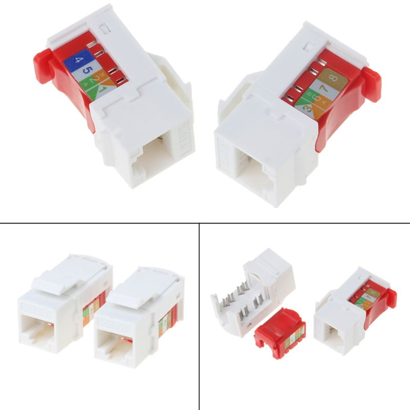 2 Pcs CAT6 Network Module Information Socket RJ45 Connector Adapter Keystone Jacks Modules Tool-free Connection