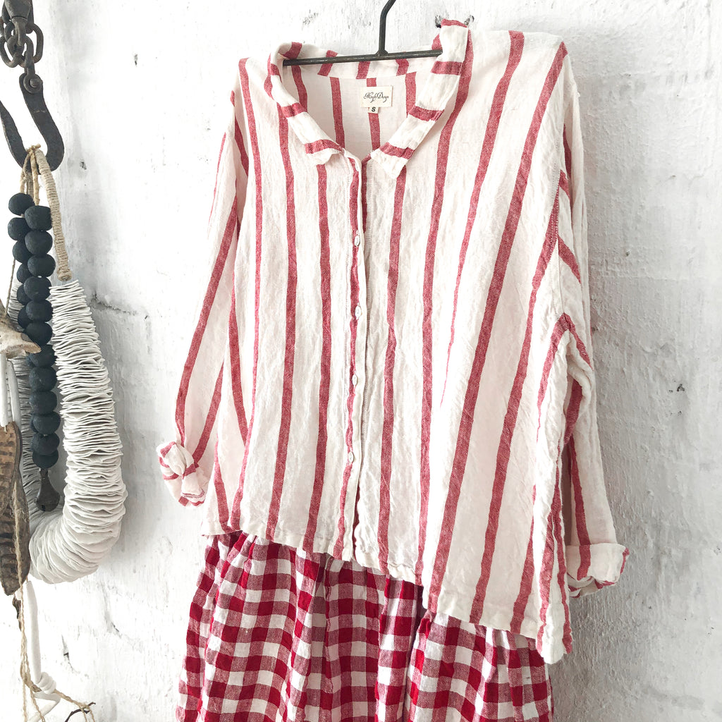 Avery Linen Shirt White & Red Stripe