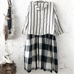 Avery Linen Shirt White & Black Stripe