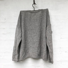 Grandpa Cardigan 100% Wool Soft Grey