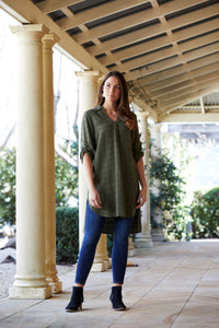Silos shirt dress in ivy