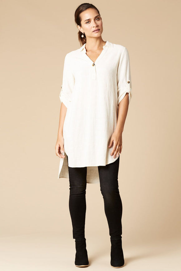 Silos shirt dress in vanilla