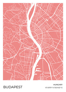 Budapest Map Red