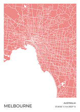 Load image into Gallery viewer, Melbourne Map Red
