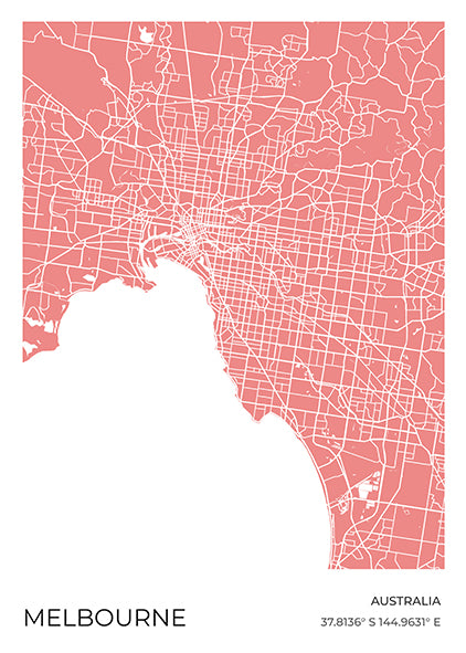 Melbourne Map Red