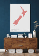 Load image into Gallery viewer, New Zealand Map Red