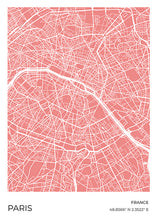 Load image into Gallery viewer, Paris Map Red