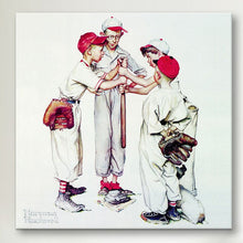 "Load image into Gallery viewer, 12"" H x 12"" W x 0.75"" D White 'Choosing up (Four Sporting Boys: Baseball)' - Wrapped Can 7685"