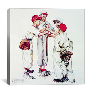"12"" H x 12"" W x 0.75"" D White 'Choosing up (Four Sporting Boys: Baseball)' - Wrapped Can 7685"