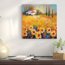 "Load image into Gallery viewer, 18"" H x 18"" W Orange 'Tuscan Sunflowers' Painting Print on Wrapped Canvas"
