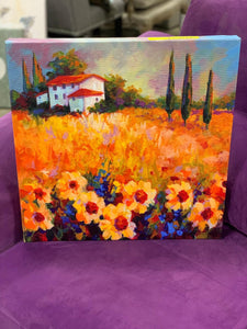 "18"" H x 18"" W Orange 'Tuscan Sunflowers' Painting Print on Wrapped Canvas"